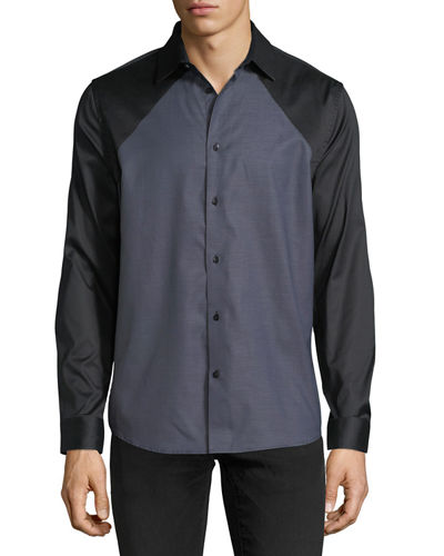 Contrast-Front Woven Shirt