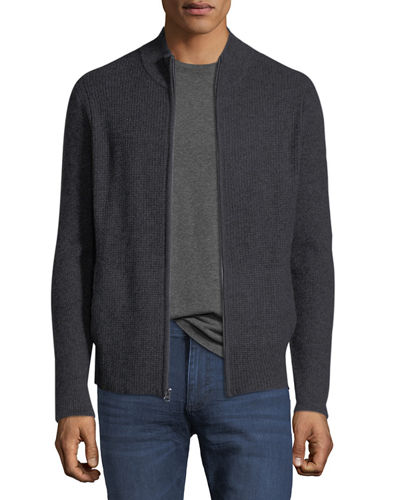 Cashmere Ribbed Zip-Front Cardigan