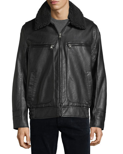 Amherst Faux-Leather Bomber Jacket