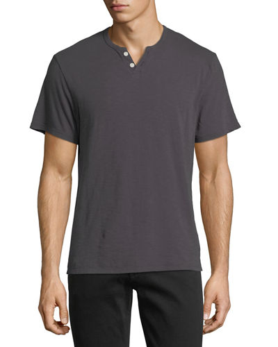 Short-Sleeve Slub Henley T-Shirt