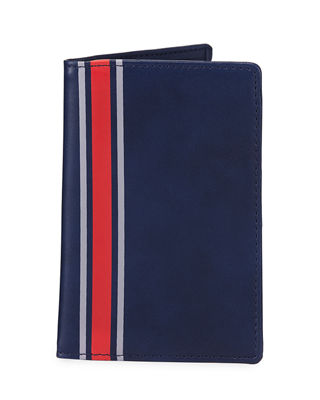STRIPED FAUX-LEATHER PASSPORT CASE