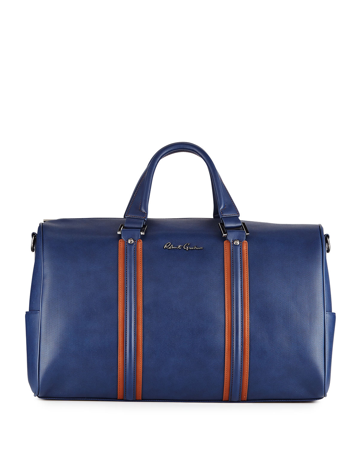Perforated Two-Tone Faux Duffel Bag