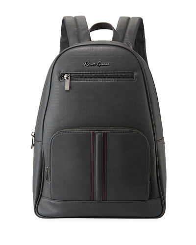 Perforated Faux-Leather Zip Backpack