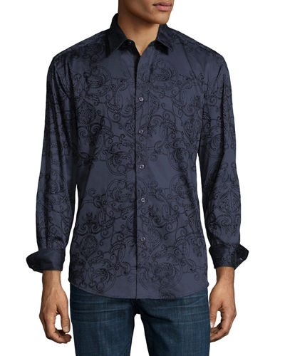 Velvet-Embroidered Sport Shirt