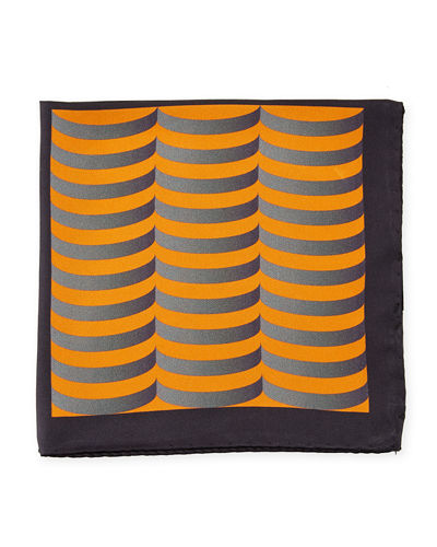 Chevron and Swirl Silk Pocket Square