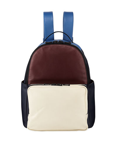 Colorblock Smooth Leather Backpack