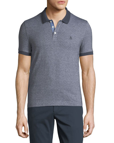 Birdseye-Dot Short-Sleeve Polo Shirt