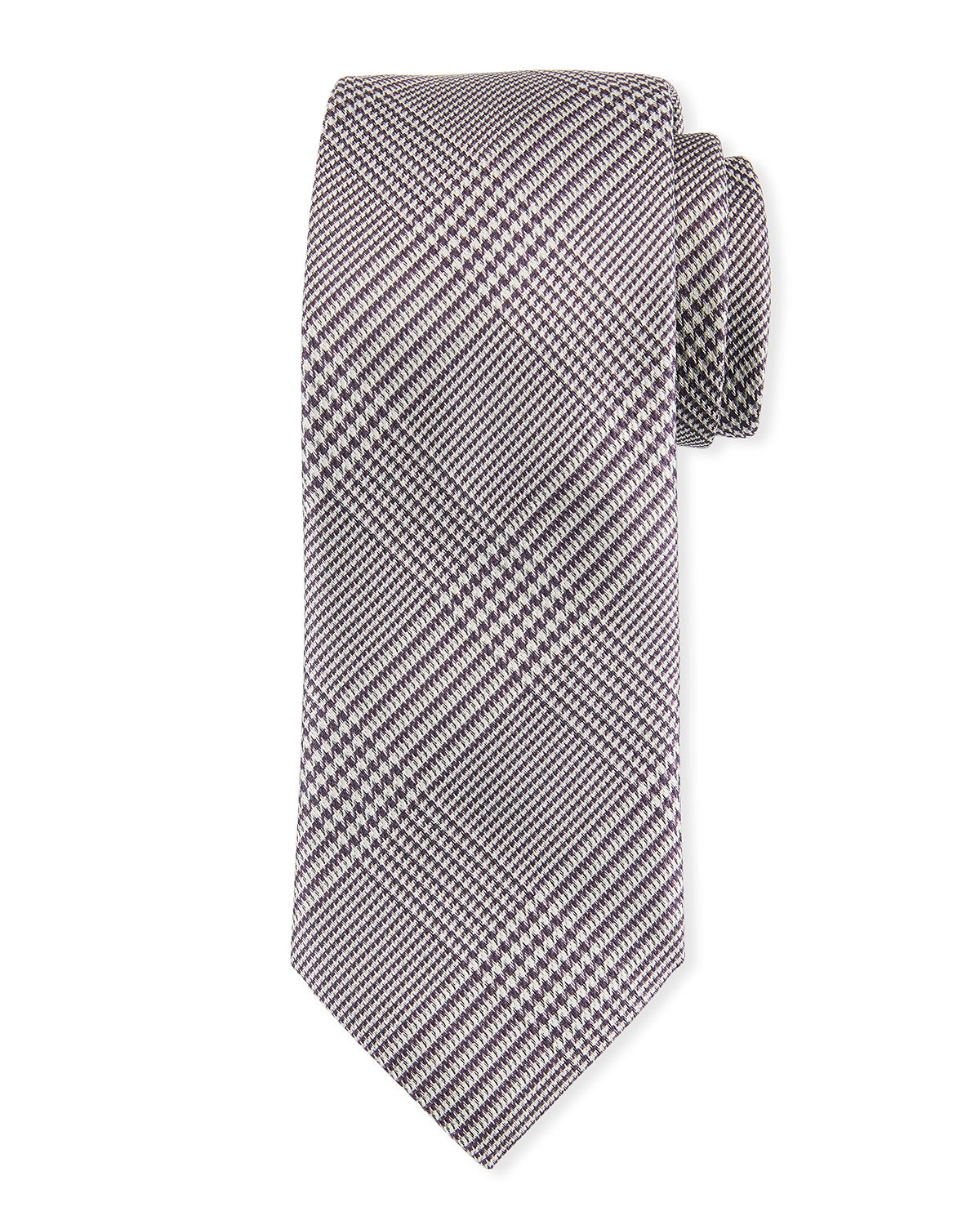 Brioni Ties HOUNDSTOOTH PLAID SILK TIE
