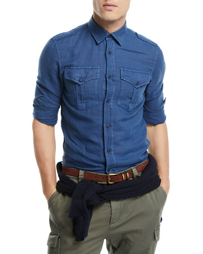 Linen-Blend Double-Pocket Denim Shirt