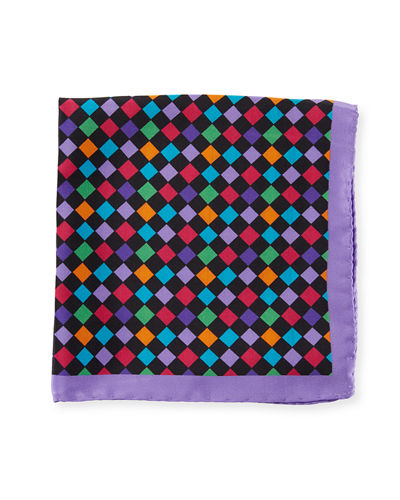 Multicolor Checkered Silk Pocket Square