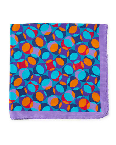 Bugatchi Multicolor Geometric Pattern Silk Pocket Square