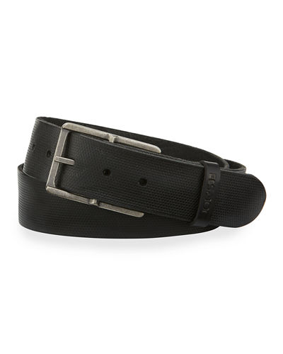 Washed Pin-Dot Leather Belt
