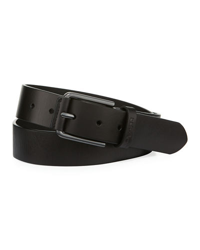 Joe's Leather Wrap Buckled Belt, Black