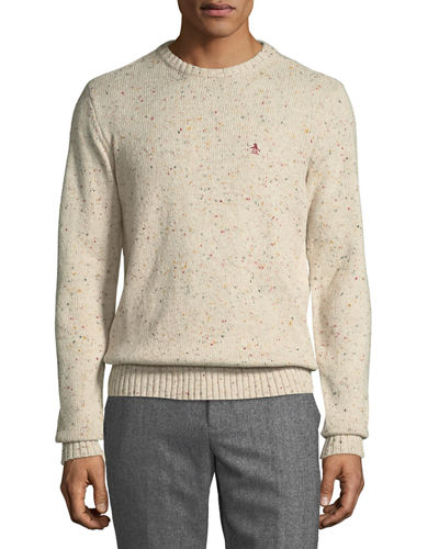 Speckled-Cotton Crewneck Sweater