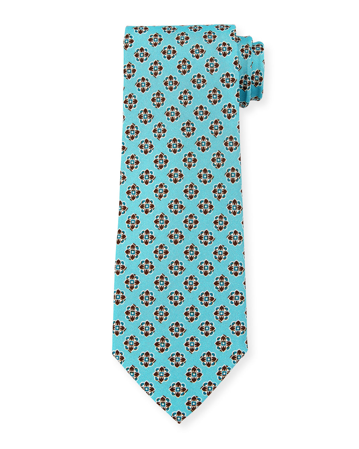 Isaia Ties PRINTED MEDALLION SILK TIE