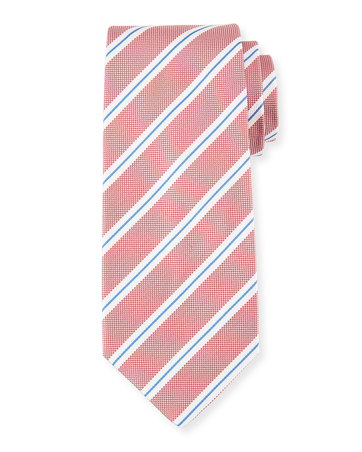Isaia Ties FRAMED STRIPE SILK TIE