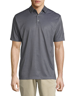 CALLAWAY-PERRY ELLIS Striped Polo Shirt in Black