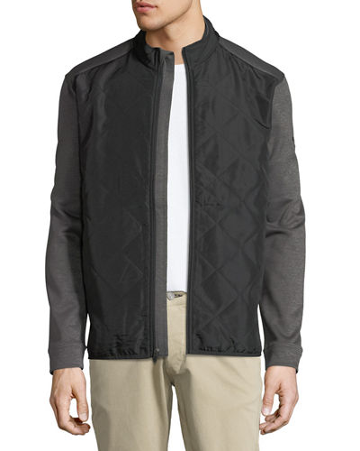 Quilted Zip-Front Fleece Jacket