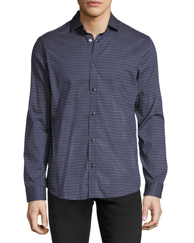 Snap-Front Printed Sport Shirt