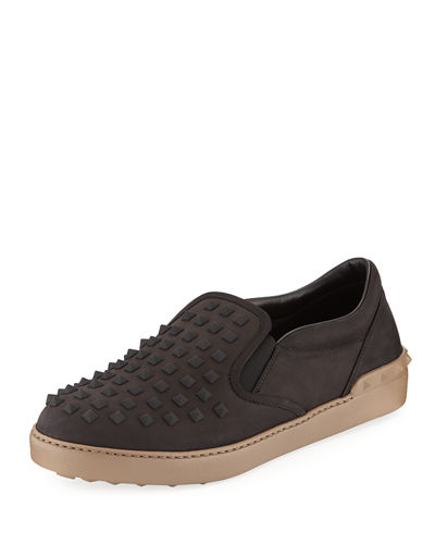 Men's Rockstud Platform Two-Tone Sneakers