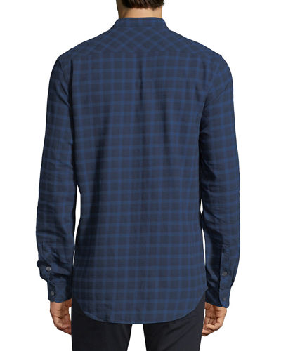 Plaid Tab-Collar Button-Front Shirt