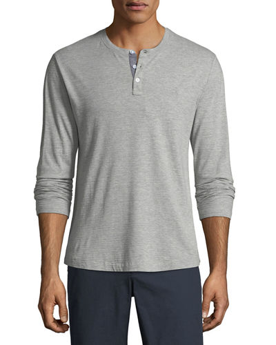 Long-Sleeve Heathered Jacquard Henley