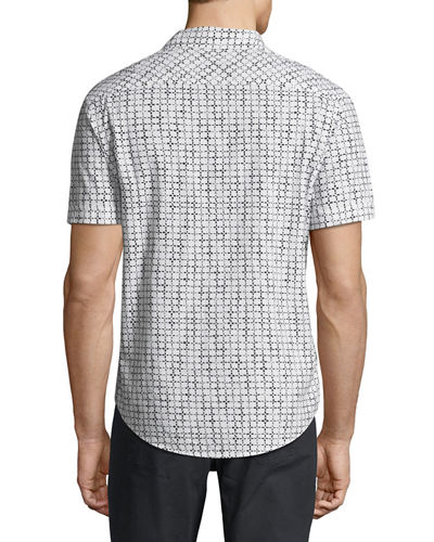 Short-Sleeve Floral Grid Sport Shirt