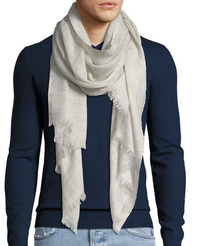 Loro Piana Men's Fringed-End Textured Scarf