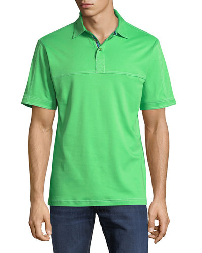 Knit Cotton Three-Snap Polo Shirt with Twin-Needle Detail