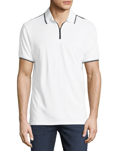 Zip-Front Jersey Polo