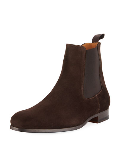 Gored Suede Ankle Boot