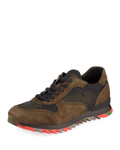 Karl Lagerfeld Paris Men's Camouflage Mixed Sneakers