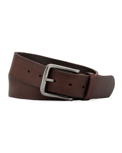 Men's Pin Dot Stamped Leather Belt