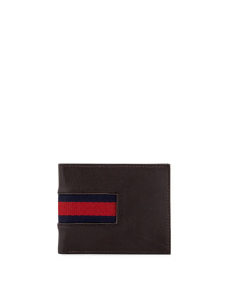 1 LIKE NO OTHER Men'S Striped-Webbing Leather Slim Fold in Brown
