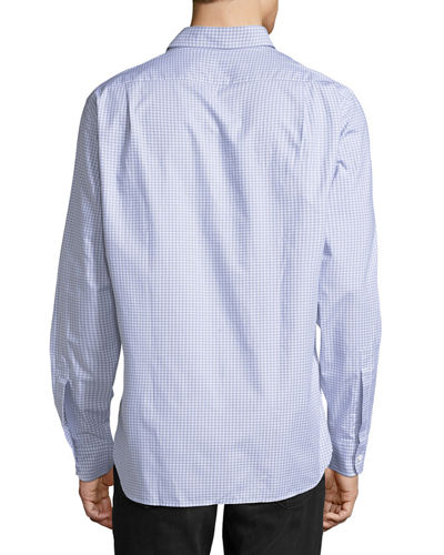Grid-Print Cotton Sport Shirt