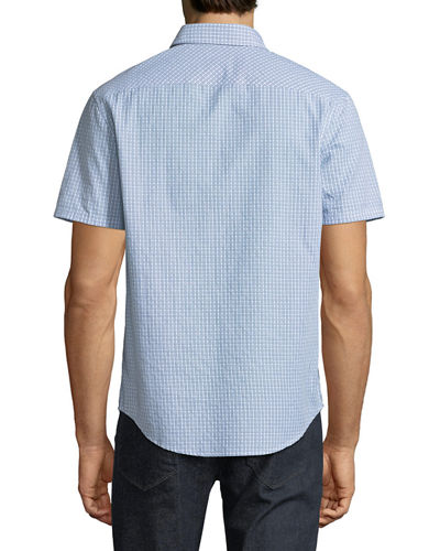 Men's Geometric-Dobby Short-Sleeve Sport Shirt