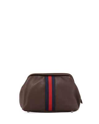 1 LIKE NO OTHER Men'S Soft-Pebble Leather Travel Kit in Brown