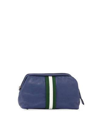 1 LIKE NO OTHER Men'S Soft-Pebble Leather Travel Kit in Navy