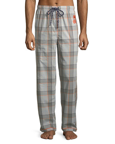 Woven Plaid Lounge Pants with Logo