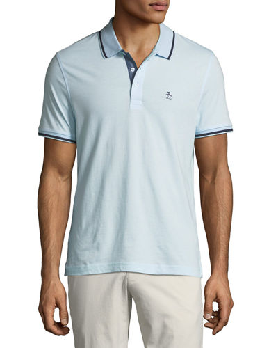 Men's Three-Button Contrast Polo Shirt