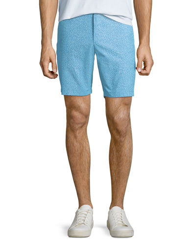 Men's Shell-Print Chambray Shorts