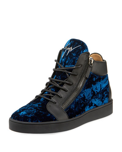 Men's Velvet Mid-Top Sneakers