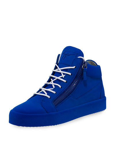 Men's Flocked Leather Mid-Top Sneaker