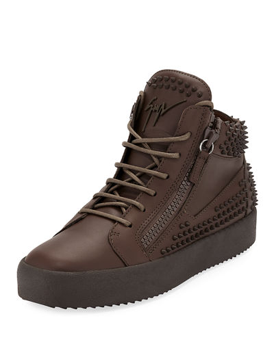Men's Studded Leather High-Top Sneaker