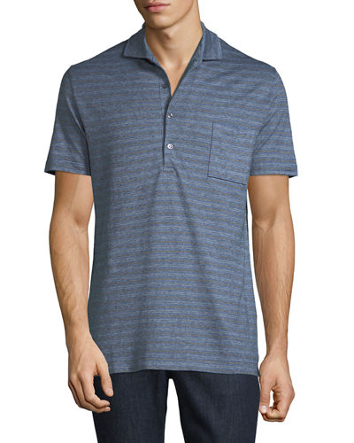 Men's Striped Jersey Polo Shirt