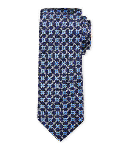 Ike Behar Men's Connected Floral Neat Silk Tie