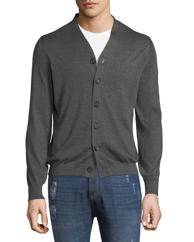 Men's Cashmere Button-Front Cardigan