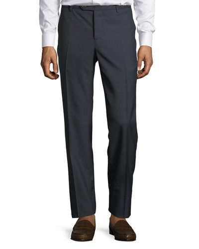 Men's Straight-Leg Wool Trouser Pants