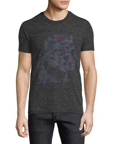 Men's Abstract-Print Heathered Crewneck Short-Sleeve T-Shirt