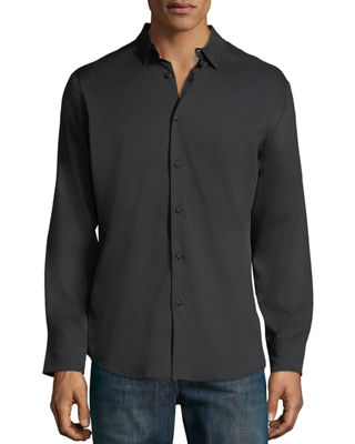 PE360 Men'S Slim-Fit Active Solid Sport Shirt in Black
